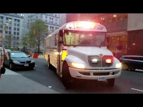 New York Corrections Department Transport Bus Awaiting To Enter Manhattan Detention Center