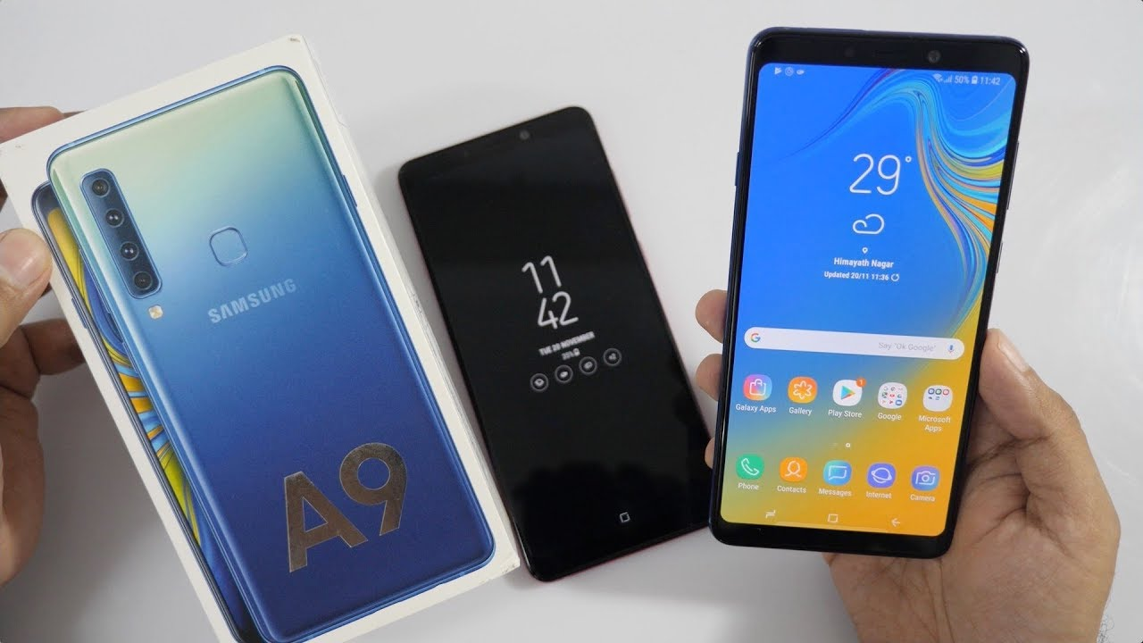 Samsung Galaxy A9 Unboxing Overview With Quad Rear Cameras
