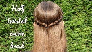 diy half twisted crown braid