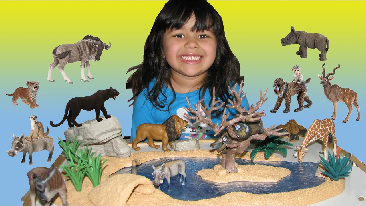 Safari Toys For Boys : Happy cute zoo animals for kids year old is playing and learning