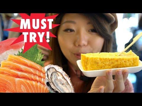 FRESHEST Japanese Street Food Tour - FLUFFY Omelette & AMAZING Sashimi At Tsukiji Fish Market, Tokyo