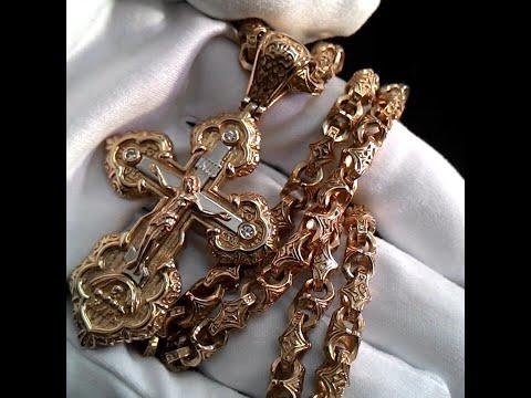 Эксклюзивная ювелирная работа крест из красного золота с бриллиантами💎, цепь плетения Краб Большой