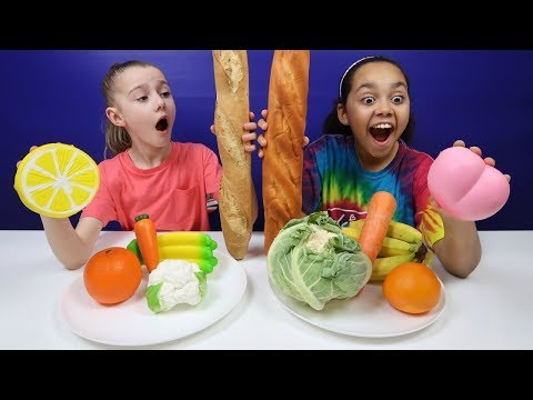 SQUISHY FOOD VS REAL FOOD CHALLENGE! Healthy Edition