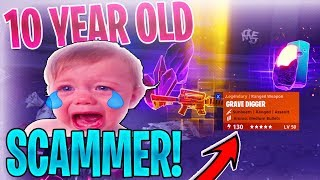 10 YEAR OLD DUMB Scammer SCAMS Himself! *SCAMMER GETS SCAMMED* In Fortnite Save The World