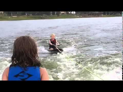 6 year old Kneeboarding and his Cousin Wakesurfing