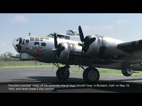 """B-17G Bomber """"Flying Fortress"""" take off from Brainard Airport, Hartford CT"""