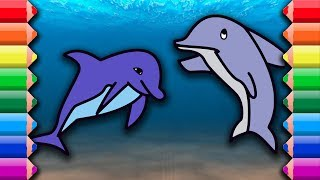 Coloring and drawing two cute dolphins Awesome cloring pages for kids