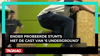 Ender sprak met de cast van '6 Underground' en 'probeerde' een paar stunts 😉