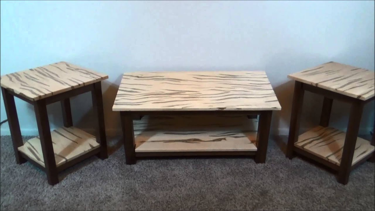 Walnut And Wormy Maple 3 Piece Table Set   YouTube