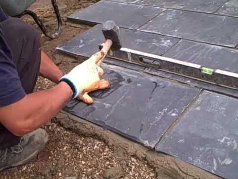 Bedding The Slate On Mortar Youtube