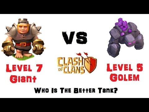 Max Level 7 Giants Vs. Max Level 5 Golems - Which Is Better? - Clash Of Clans New Holiday Update
