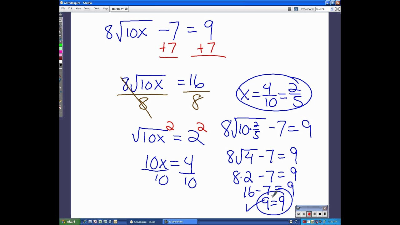 Worksheets Radical Equations Worksheet solve radical equations check for extraneous solutions youtube