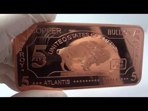 5 oz copper buffalo bullion bar .999 fine/pure