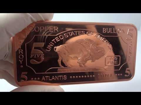 5 oz copper buffalo bullion bar .999 fine/pure