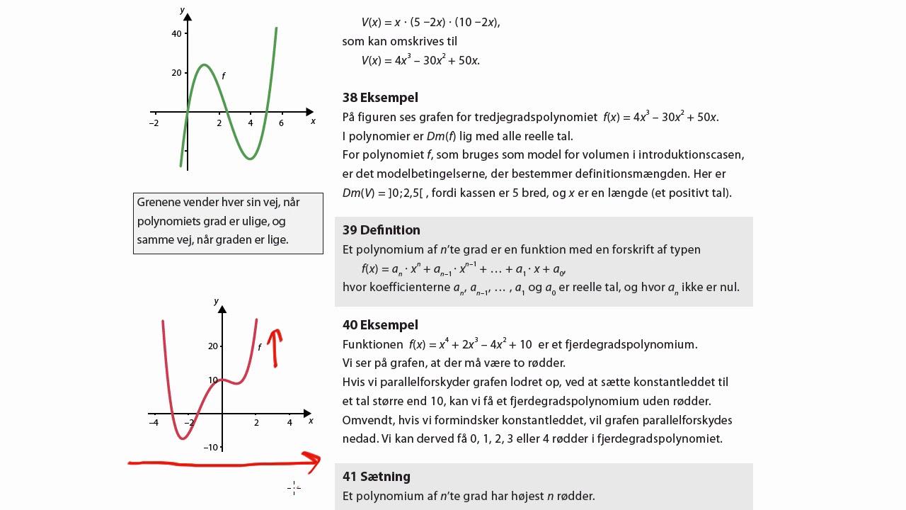 Definition og eksempel på polynomier af højere grad