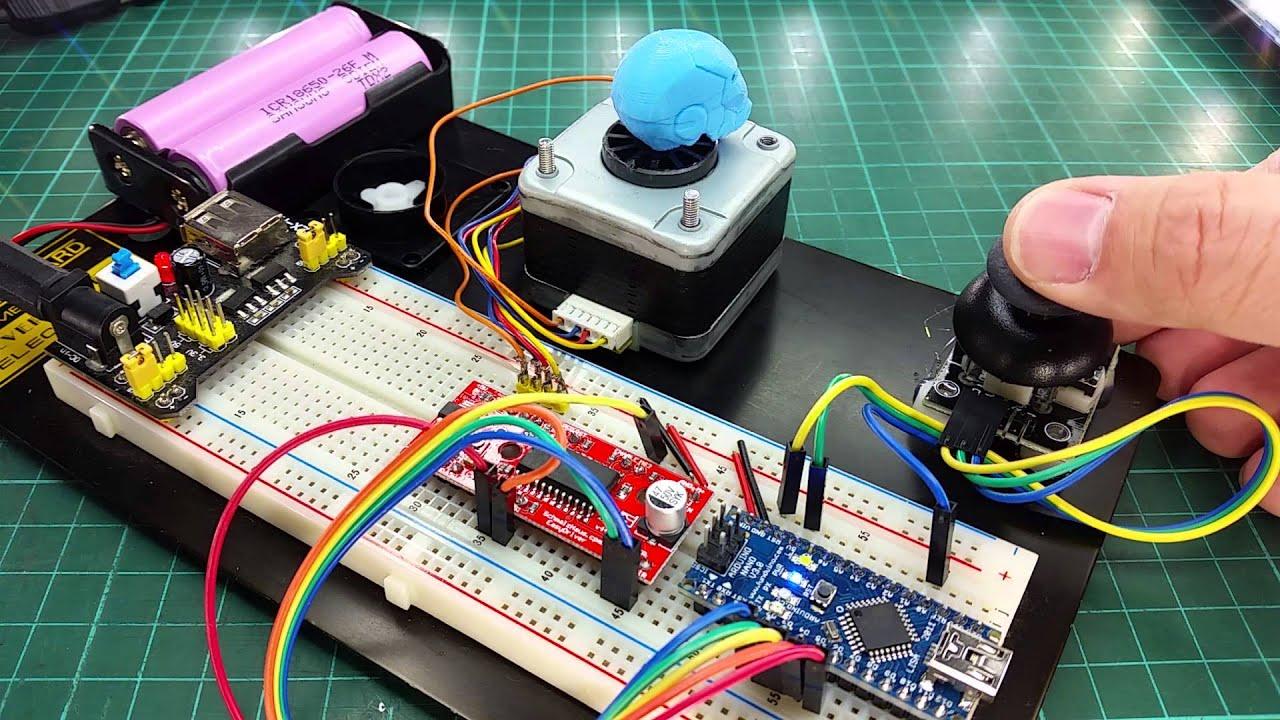Control stepper motor using easy driver with joystick for Arduino nano motor control