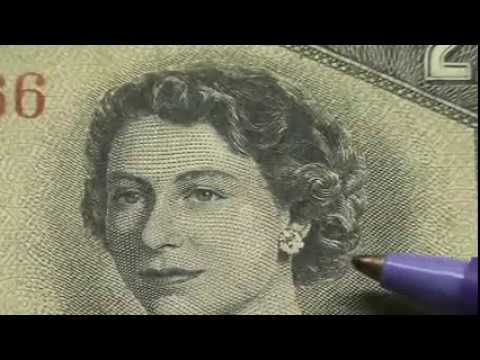 DEVIL'S FACE HIDING IN QUEEN ELIZABETH'S HAIR ON CANADIAN CURRENCY