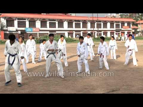 Nepali kids learn self defence techniques in Kathmandu