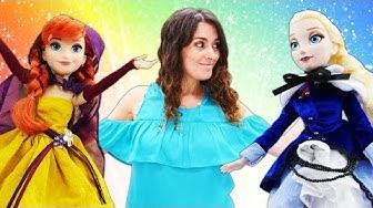 Elsa und Anna gehen in den Schönheitssalon. Frozen Heart Spielzeuge. Video für Kinder.