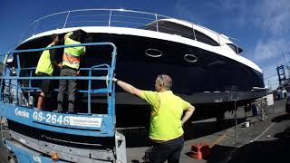 Wrap of Riviera 47 hull in 3M 1080 G127 Gloss Boat Blue