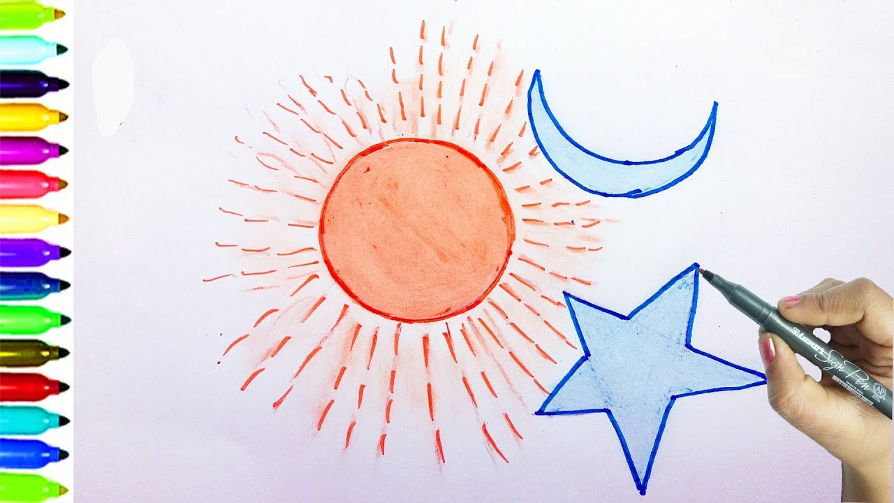 How to draw sun , moon , star, learning Drawing for kids ...