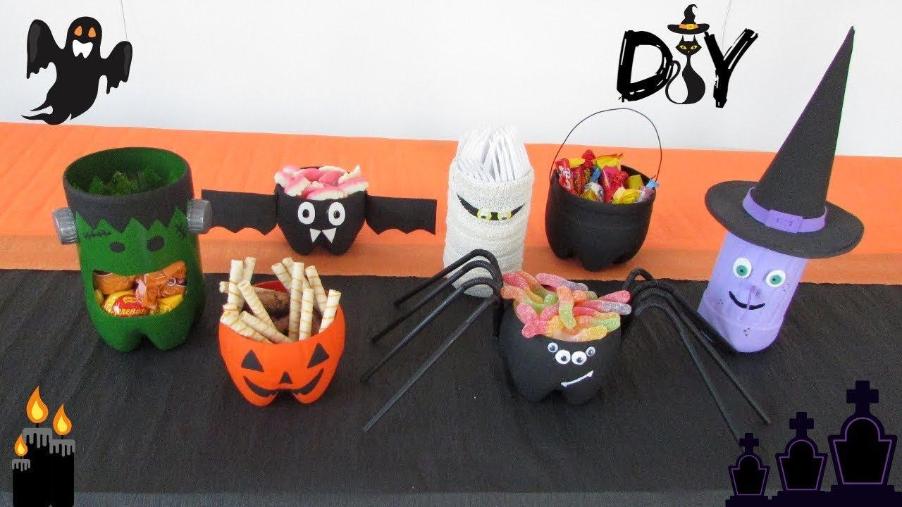 DIY Decoraç u00e3o Halloween 7 idéias feitas com garrafas pet YouTube # Decoração De Halloween Com Materiais Reciclados