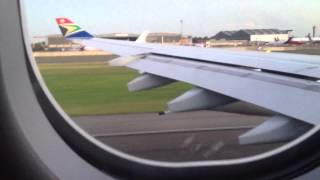 South Africa Airways - Take off from Johannesburg to Hong kong.