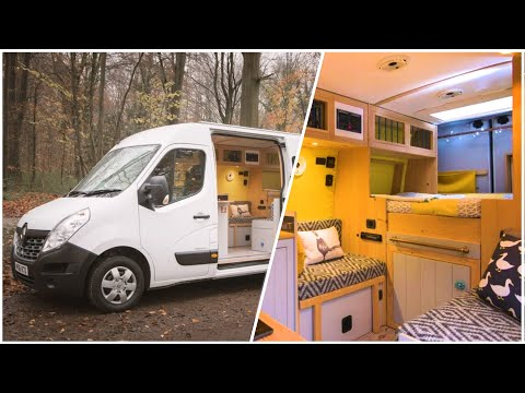 practical-van-conversion-with-2-double-beds,-massive-storage-&-heated-garage-🔥🚐-full-tour