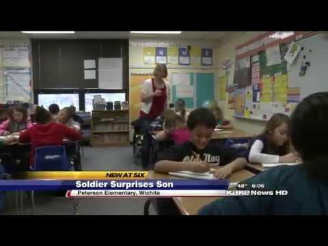 Soldier Surprises Son at school