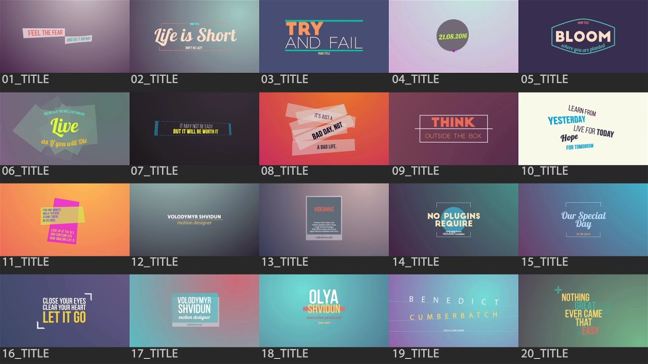 After effects template motion titles pack youtube for After effects titles templates