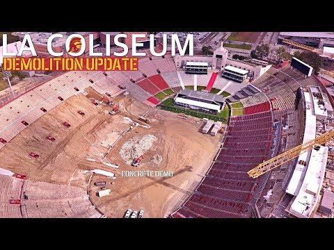 The destruction of USC's LA Coliseum | Demolition Aerial Update Feb '19