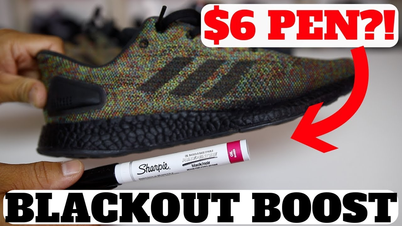 c00b1647609e2 HOW TO BLACKOUT ADIDAS BOOST W   6 SHARPIE ! WILL IT WORK  - YouTube