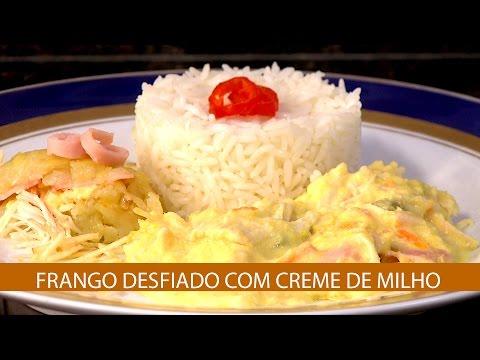 FRANGO DESFIADO COM CREME DE MILHO