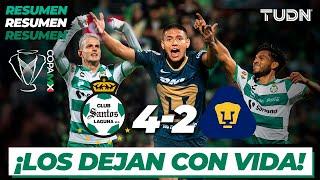 Resumen y Goles | Santos 4 - 2 Pumas | Copa MX - 8vos Ida | TUDN