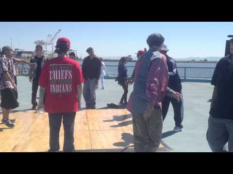 Bay Area strutters dancing at the Port of Oakland