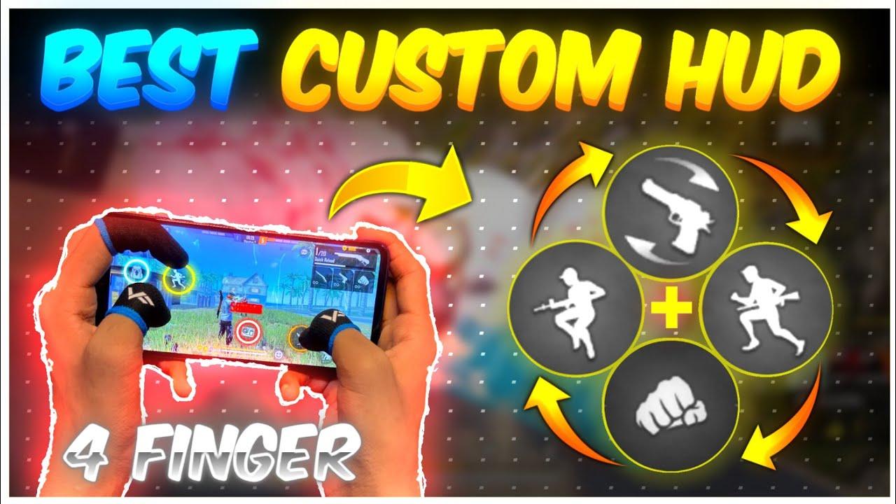 4 Finger Best Custom HUD Settings 🔥| Latest Control Settings Free Fire | Pro Custom HUD Setting 2021