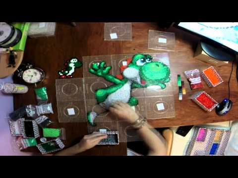 Yoshi hecho con hama beads en time lapse