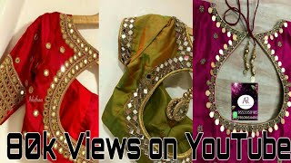 2018-19 Letest bridal saree blouse back neck designs // heavy mirror work blouse back neck designs