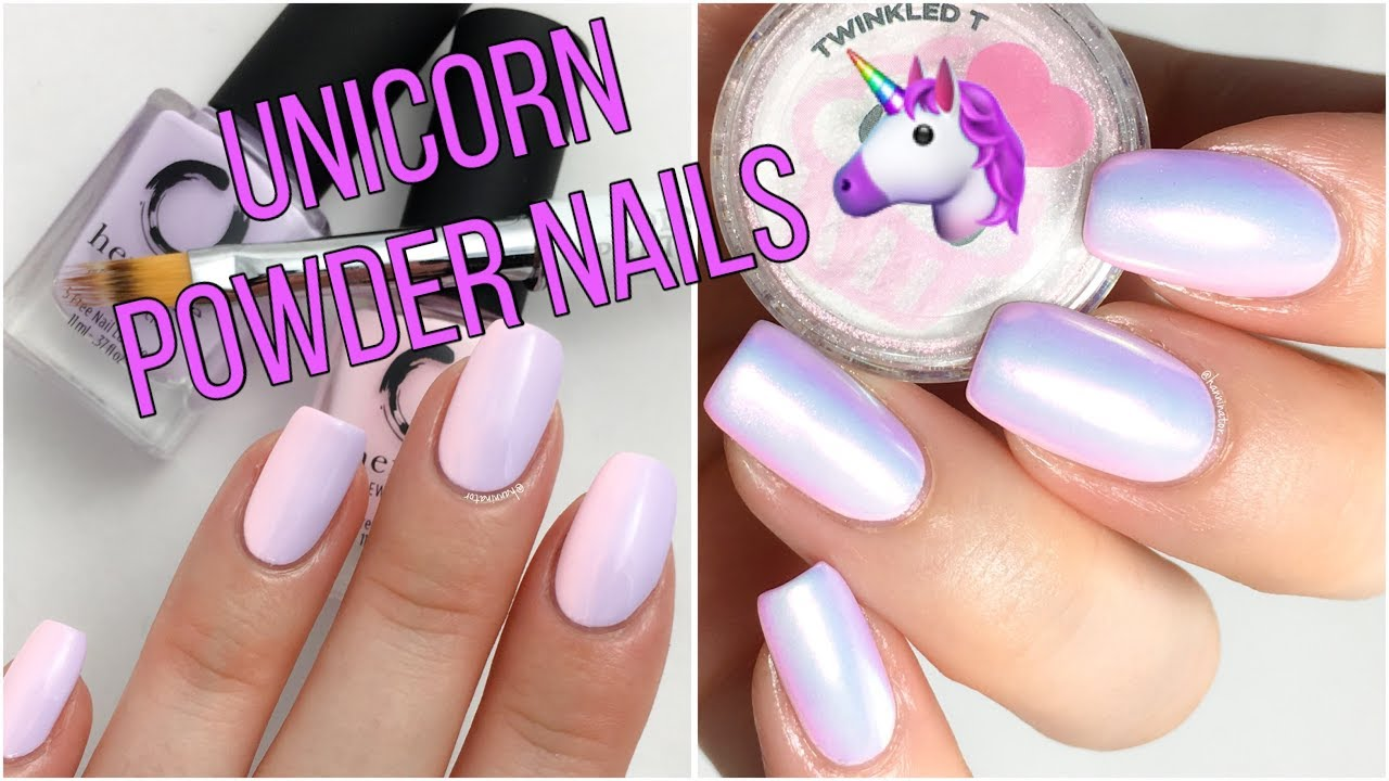 Unicorn Powder Nails Nail Art Tutorial Youtube