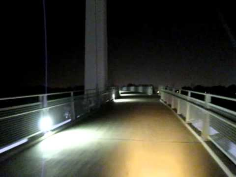 Omaha Pedestrian Bridge in dark
