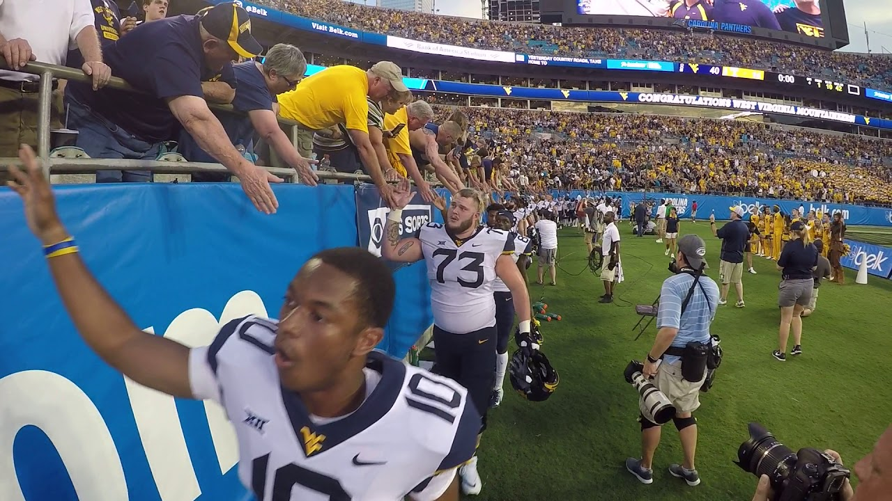 "After a win against Tennessee, WVU celebrates their victory with ""Country Roads"""