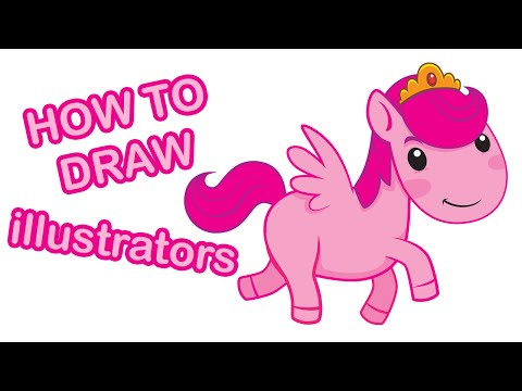 How to draw cartoon pink pony princess character adobe illustrators cs6