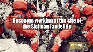 Rescuers working at the site of the Sichuan landslide thumbnail