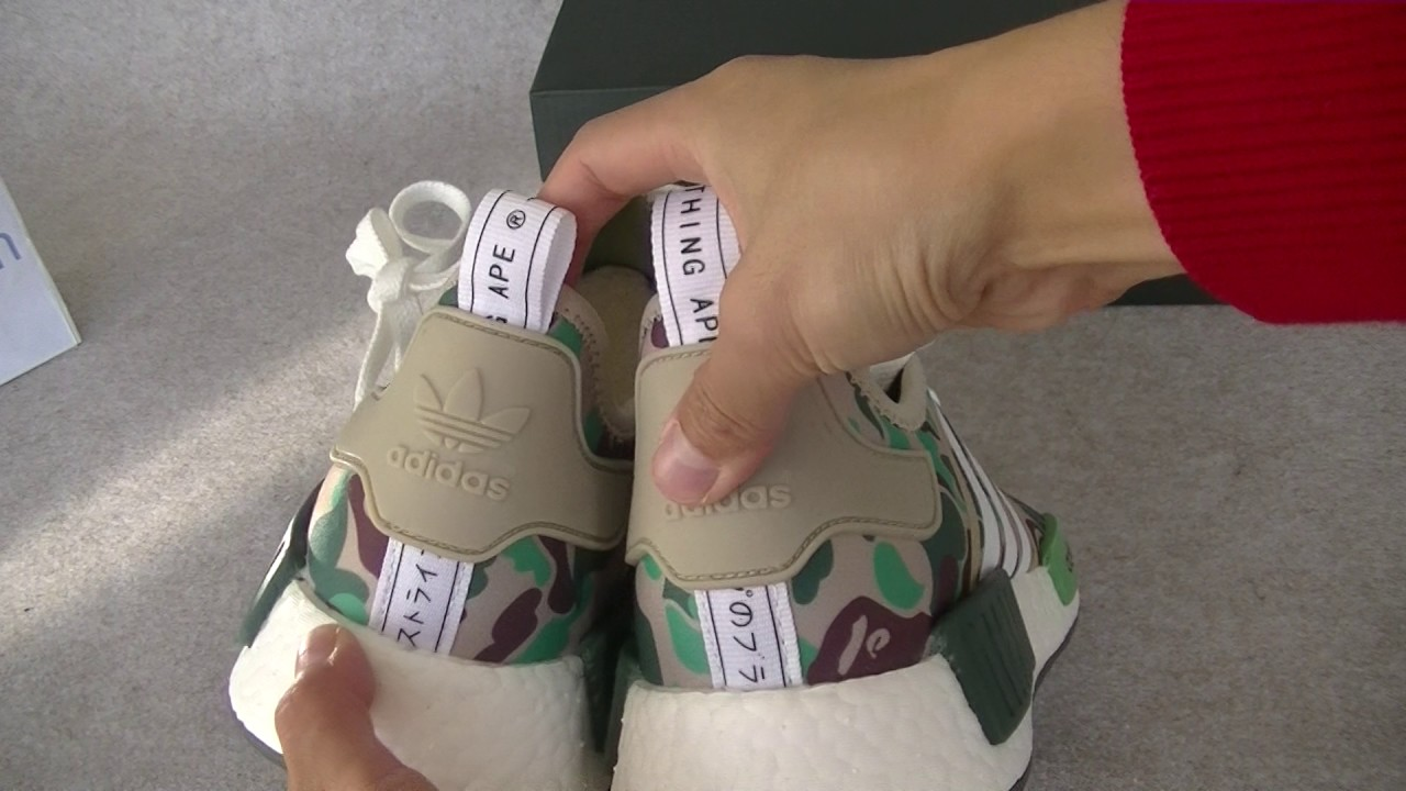 Adidas NMD x Bape bienes materiales verdadero impulso primero mirando YouTube