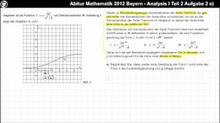 Abitur Mathematik 2012 Bayern - Analysis Aufgabengruppe I - Teil 2 Aufgabe 2 e)