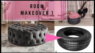 #diy #decoration  Luxury Tufted Ottoman Bench Made with Tyres