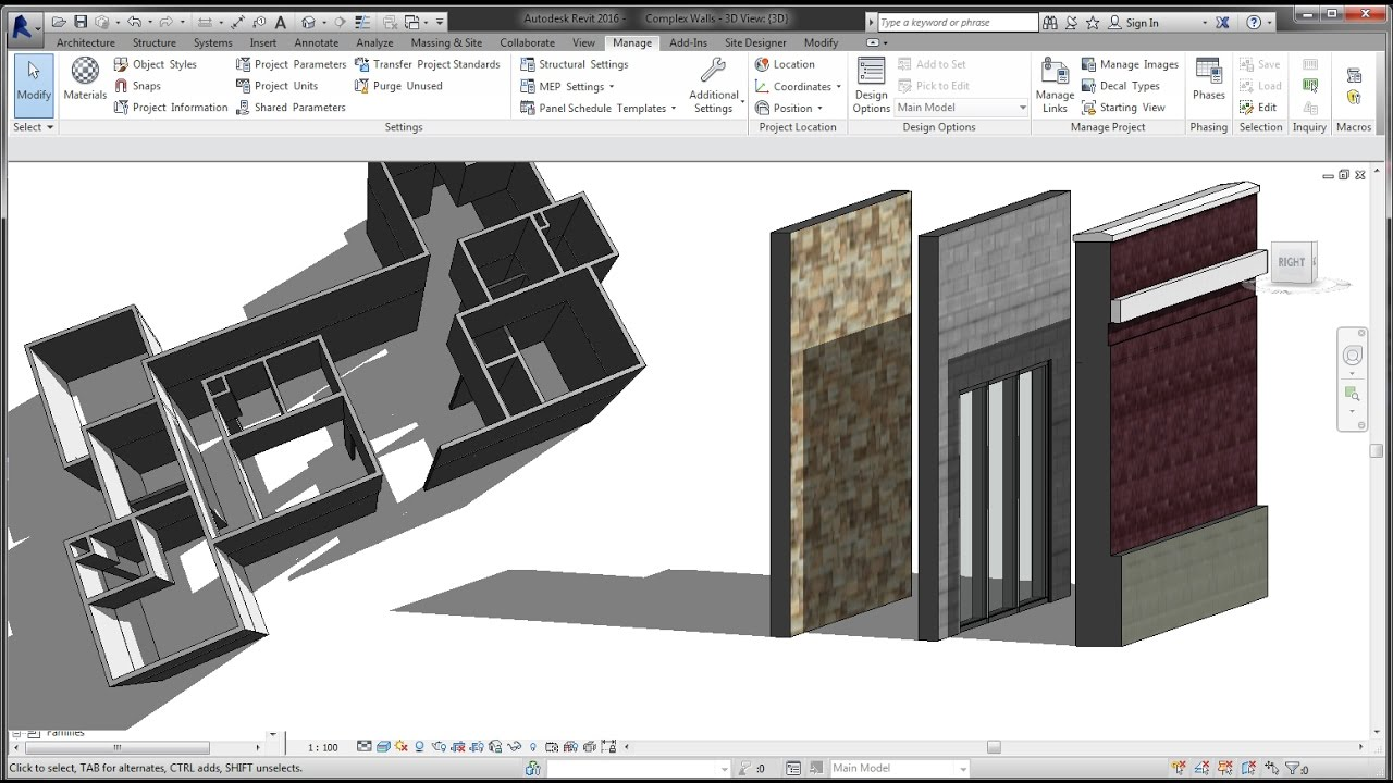 BIM - Revit 3D Tutorial for Beginners 3of10, Adding and Modifying Walls,  Basic & Complex