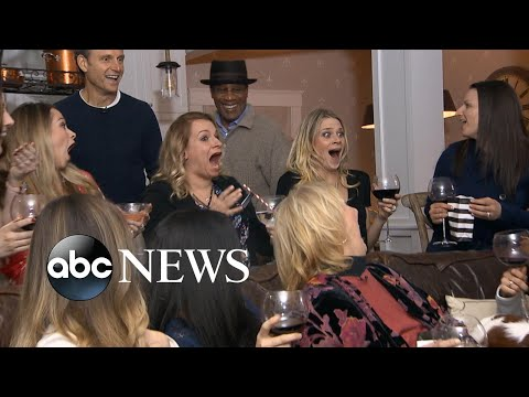 'Scandal' super surprised by stars Tony Goldwyn and Joe Morton during viewing party