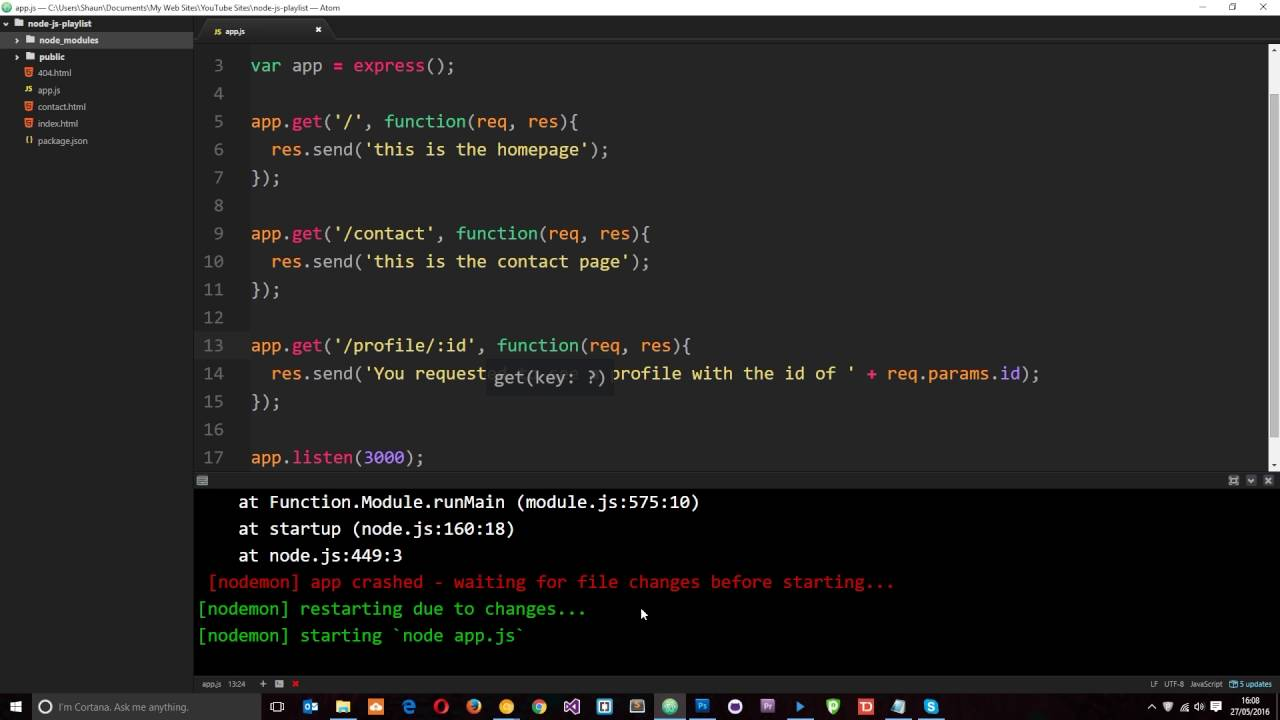 how to delete node in js