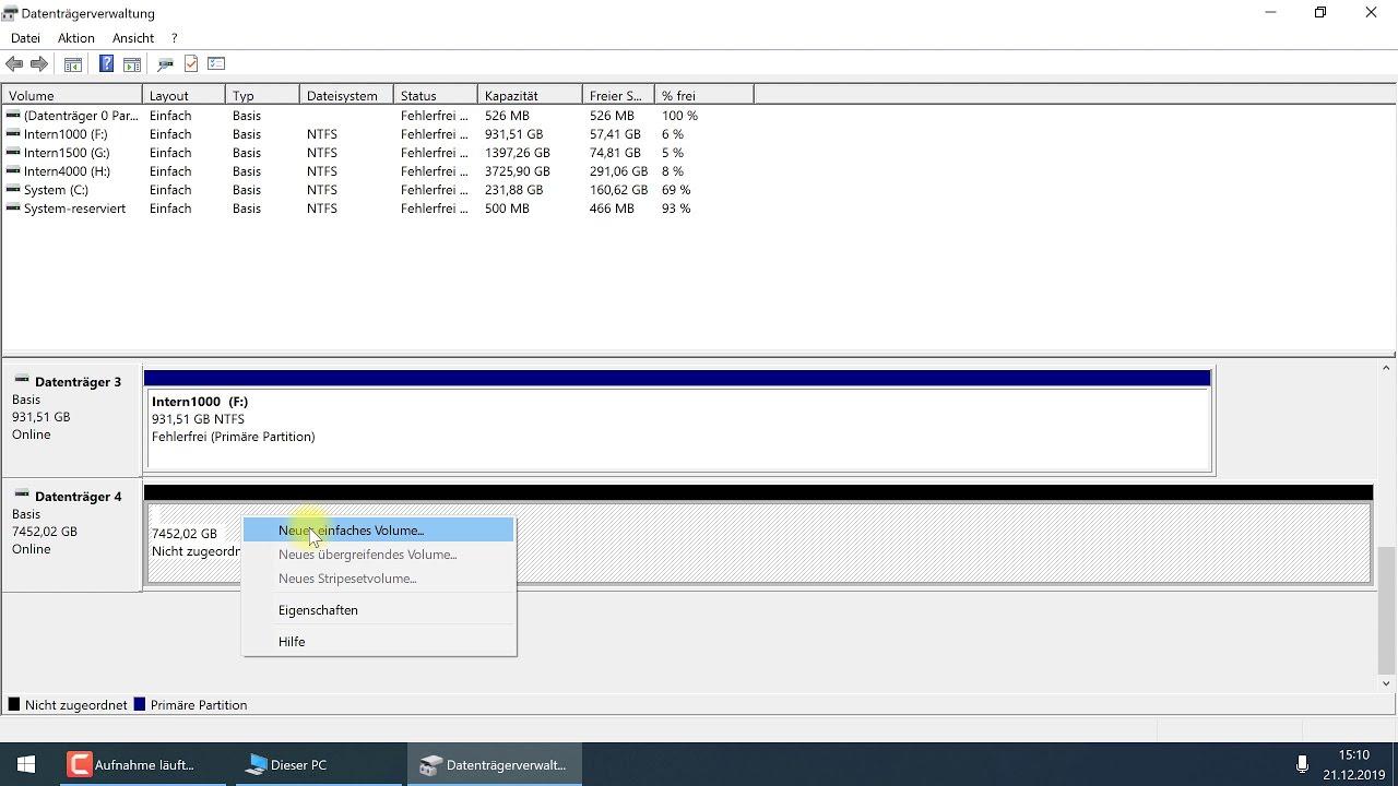 Neue Festplatte initialisieren, partitionieren, Volume erstellen und  formatieren – Windows-Tutorial